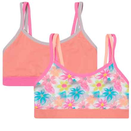 RBX Double-Strap Sports Bras - 2-Pack (For Big Girls) in Flower/Apricot - Closeouts