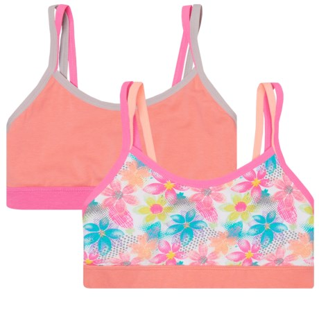 RBX Double-Strap Sports Bras - 2-Pack (For Big Girls) in Flower/Apricot
