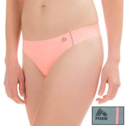 RBX Edge No-Show Thong Panties - 2-Pack (For Women) in Neon Melon Grey - Closeouts