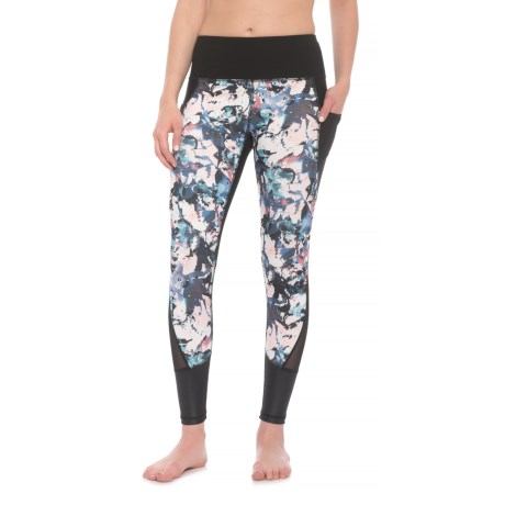 RBX Embossed Ankle Leggings (For Women) in Floral Black Multi