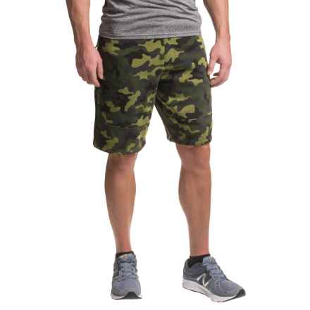 RBX Fleece Shorts - Cotton Blend (For Men) in Dark Green Camo - Closeouts