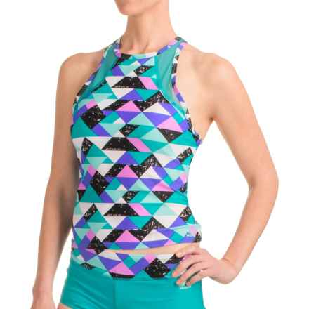 RBX Geo-Print Tankini Top - Racerback, Removable Cups (For Women) in Multi - Closeouts
