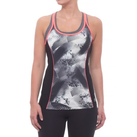 RBX Graphic Tank Top - Built-In Shelf Bra (For Women) in Black/Coral Reef