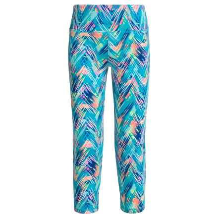 RBX High-Performance Printed Capris (For Big Girls) in Aqua Spring Multi - Closeouts