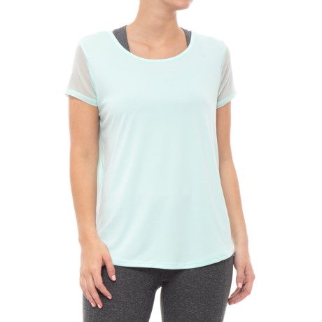 RBX Keyhole Back Shirt - Short Sleeve (For Women) in Aquatint/Grey