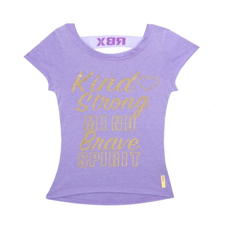 RBX Kind Graphic T-Shirt - Short Sleeve(For Big Girls) in Dahlia Purple / White
