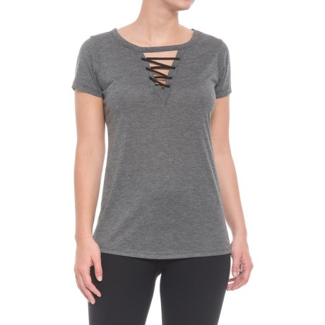 RBX Lace-Neck T-Shirt - Short Sleeve (For Women) in Charcoal