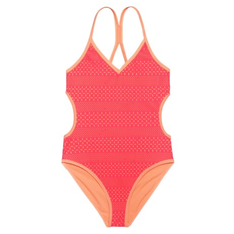 RBX Laser-Cut One-Piece Swimsuit (For Big Girls) in Pink