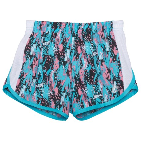 RBX Mesh Printed Shorts - Built-in Briefs (For Big Girls) in Bluefish Multi / White