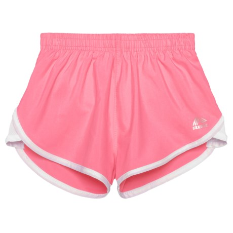 RBX Mesh Solid Shorts - Built-in Briefs (For Big Girls) in Rose Petal/White