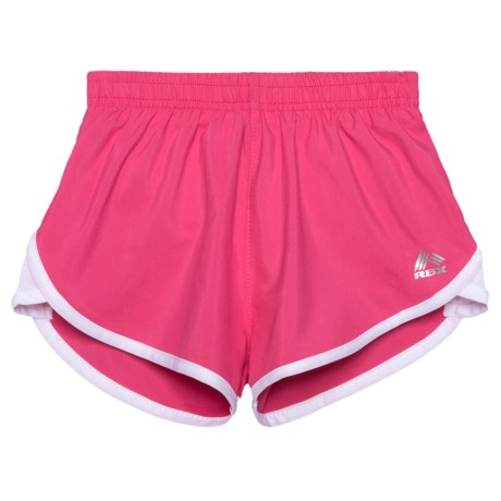 RBX Mesh Solid Shorts - Built-in Briefs (For Little Girls) in Pink Story/White