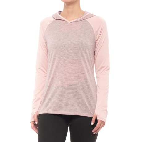 RBX Missy Color-Blocked Hooded Shirt - Long Sleeve (For Women) in Seashell