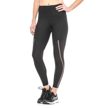 RBX Missy Full-Length Mesh Knee Leggings (For Women) in Black/Rose Gold