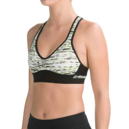 RBX Molded-Cup Sports Bra - High Impact, Racerback (For Women) in Print Green - Closeouts