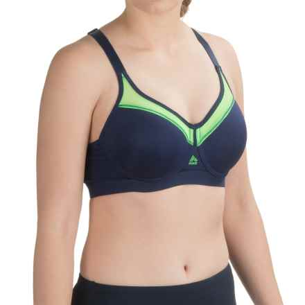 RBX Motion Control Sports Bra - Medium Impact, Racerback, Underwire Support (For Women) in Navy/Green - Closeouts