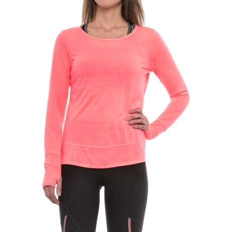 RBX Open-Back T-Shirt - Long Sleeve (For Women) in Rosewater Heather