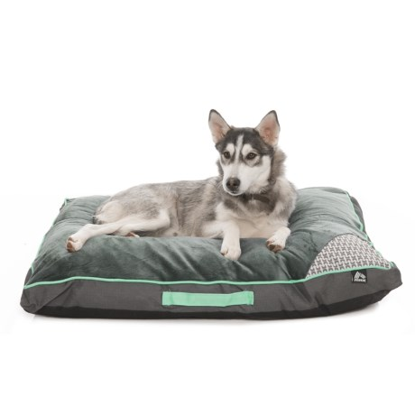 "RBX Plush Sleep Rectangular Dog Bed 36x27"" in Dark Grey/Teal"