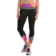 RBX Prime Multi Splice Yoga Capris (For Women) in Blk/Frosted Magenta - Closeouts