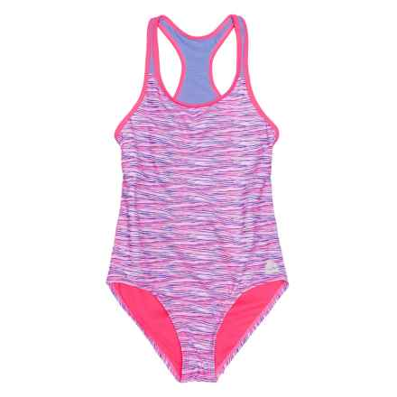 RBX Printed One-Piece Swimsuit - Racerback (For Girls) in Purple Multi - Closeouts
