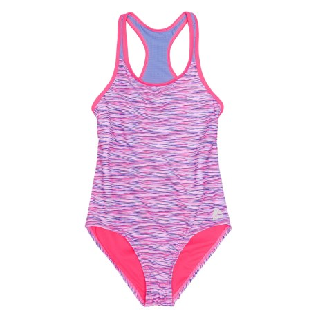 RBX Printed One-Piece Swimsuit - Racerback (For Girls) in Purple Multi