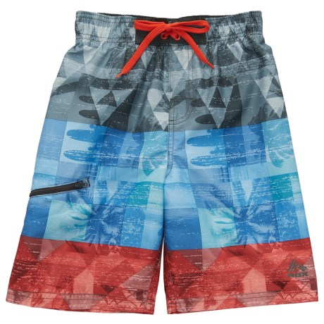 RBX Printed Swim Trunks (For Boys) in Fiery Red