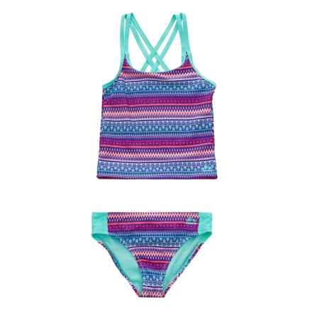 RBX Printed Tankini Set - Brief Bottoms (For Girls) in Multi - Closeouts
