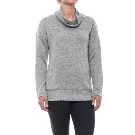 RBX Quilted Funnel Neck Sweatshirt (For Women) in Plat Grey