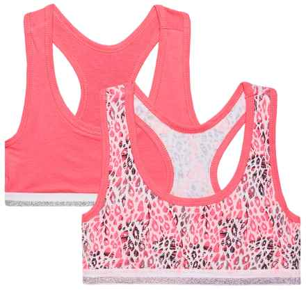 RBX Racerback Sports Bra - Low Impact, 2-Pack (For Big Girls) in Pink Leo/Carnation - Closeouts