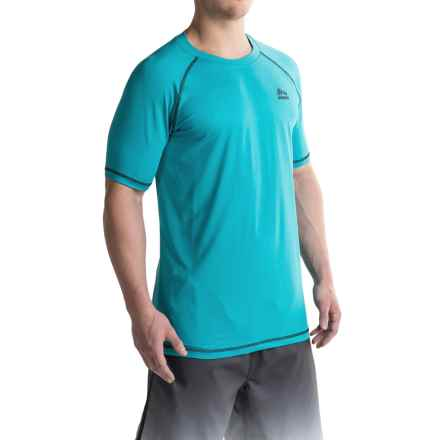 RBX Rash Guard - Short Sleeve (For Men) in Turquoise - Closeouts
