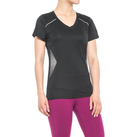 RBX Reflective Print T-Shirt - V-Neck, Short Sleeve (For Women) in Black