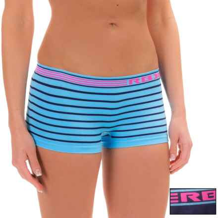 RBX Seamless Panties - 2-Pack, Boy Short (For Women) in Blue Stripe Navy Pink - Closeouts