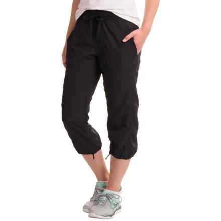 RBX Shirred Stretch-Woven Capris (For Women) in Black - Closeouts