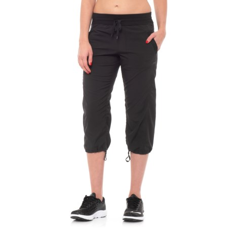 RBX Shirred Stretch-Woven Capris (For Women) in Black