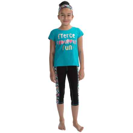 RBX Shirt and Capris Set - 3-Piece, Short Sleeve (For Little Girls) in Aqua Spring - Closeouts