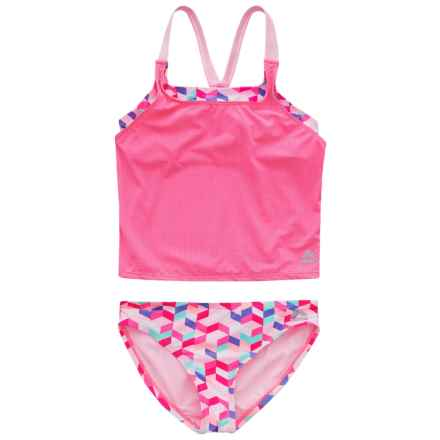 RBX Solid and Printed Tankini Set (For Girls) in Pink Multi - Closeouts