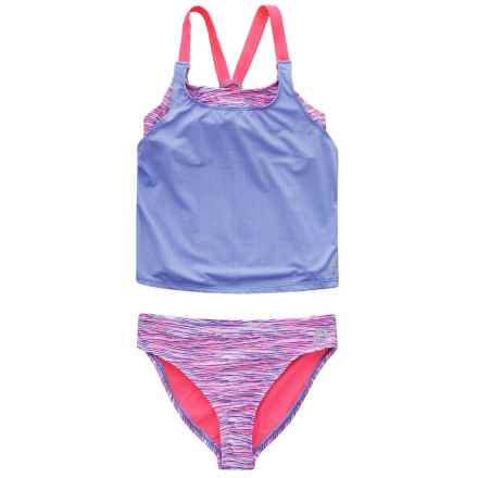 RBX Solid and Printed Tankini Set (For Girls) in Purple Multi - Closeouts
