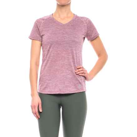 RBX Space Dye V-Neck Shirt - Short Sleeve (For Women) in Rose W/Blush - Closeouts