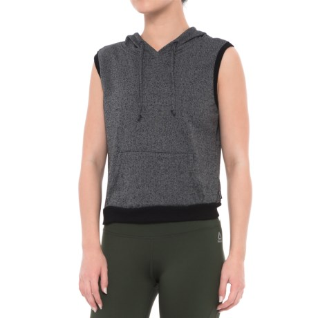 RBX Speckled French Terry Hoodie - Sleeveless (For Women) in Black Combo