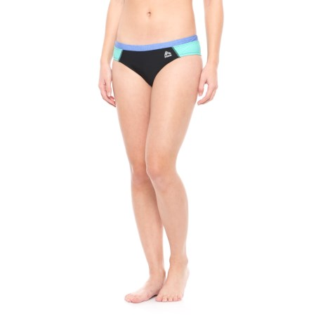 RBX Sport Bikini Bottoms - Fully Lined (For Women) in Magic Mint/ Marled Blue Heather/Black