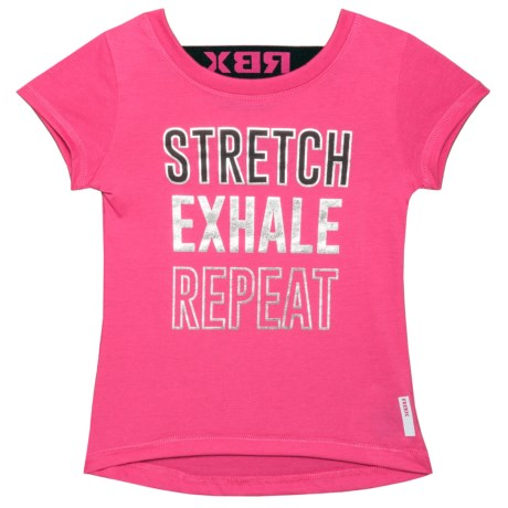 RBX Stretch Graphic T-Shirt - Short Sleeve (For Little Girls) in Pink Store / Black