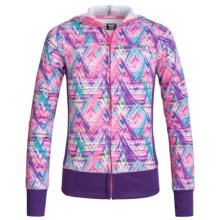 RBX Stretch-Knit Hooded Jacket - Full Zip (For Little and Big Girls) in Multi/Grape - Closeouts