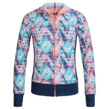 RBX Stretch-Knit Hooded Jacket - Full Zip (For Little and Big Girls) in Multi/Navy Nantucket - Closeouts