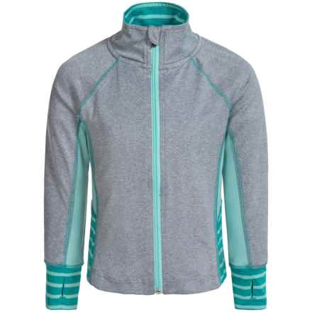 RBX Stretch-Knit Jacket (For Little Girls) in Grey Heather/Mint/Jade - Closeouts