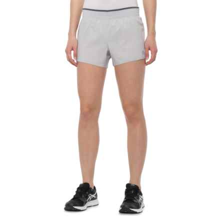 RBX Stretch Woven Running Shorts - Built-In Brief (For Women) in Microship/Platinum Grey
