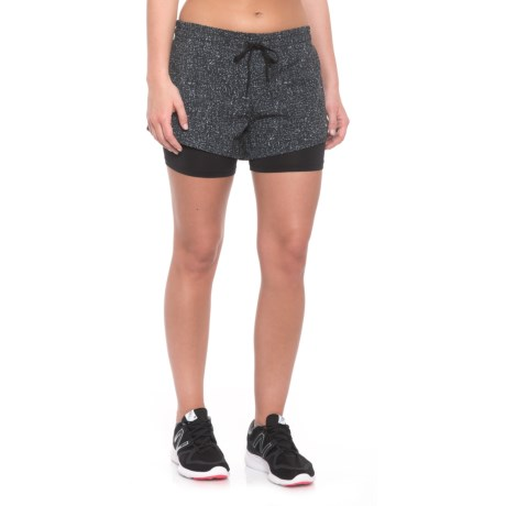 RBX Stretch Woven Running Shorts - Built-In Lining Shorts (For Women) in Black/White