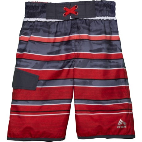 c1ea2c4b46 RBX Striped Swim Trunks - Built-In Brief (For Big Boys) in Red