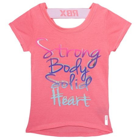 RBX Strong Graphic T-Shirt - Short Sleeve (For Big Girls) in Rose Petal/White