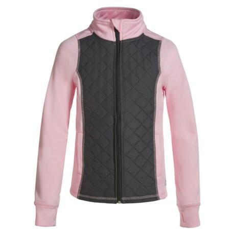 RBX Woven Front Fleece Jacket (For Little and Big Girls) in Rose/Gray Asphalt