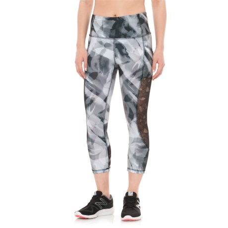 RBX Yoga Printed Capris (For Women) in Black Combo