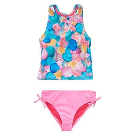 RBX Zip Neck Tankini Set (For Girls) in Shells - Closeouts